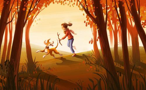 Illustration d'enfants fille jouant avec un chien