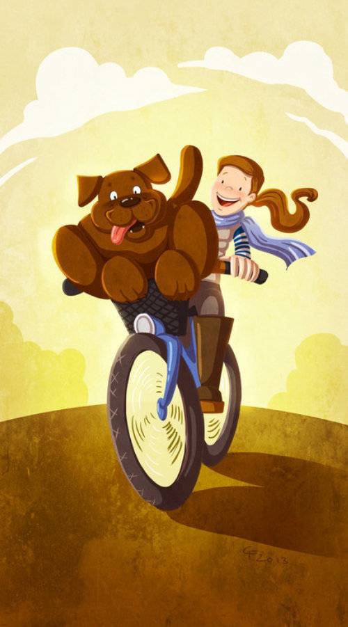 children illustration dog and boy on a bicycle