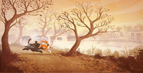 children illustration running dog