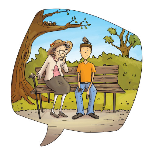 Children illustration old woman and boy in park
