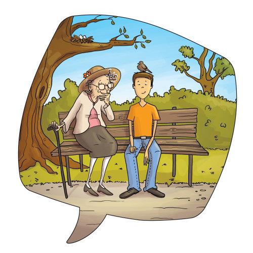 Illustration enfants vieille femme et garçon dans le parc