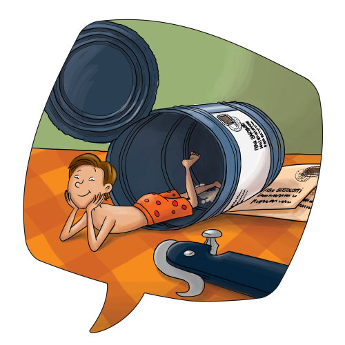 Children illustration boy in a can
