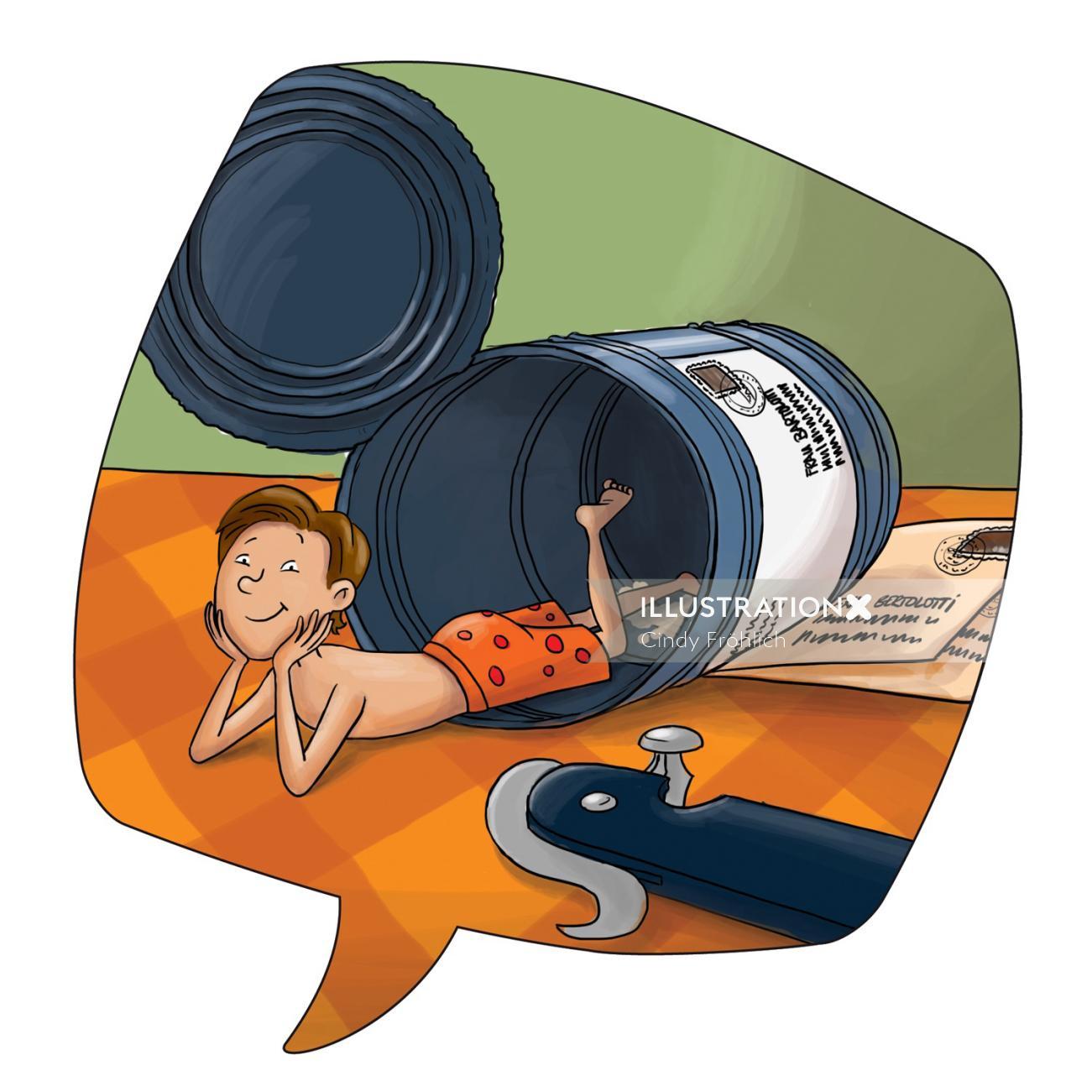 Children illustration boy in a can