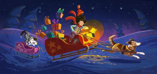Children illustration santa with gifts