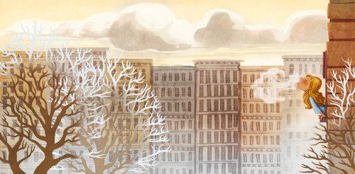 Illustration graphique d'arbre séché en ville