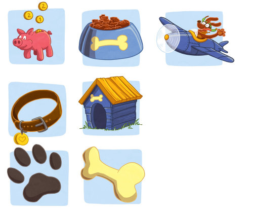 Graphic illustration of dog accessories