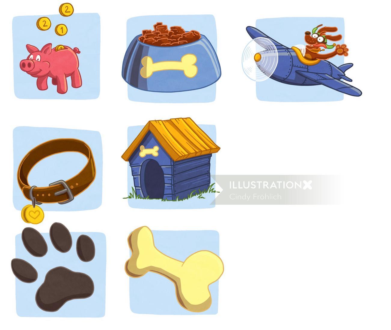 Graphic illustration of dog accessories