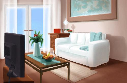 Graphic illustration living room