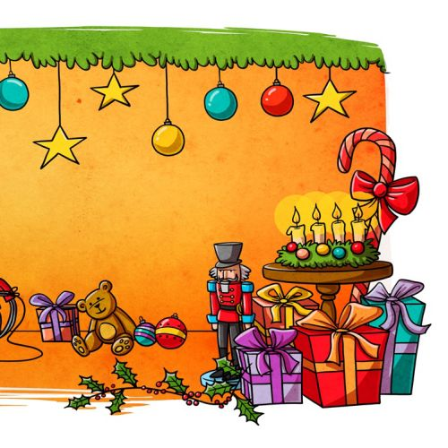 children illustration christmas tree and gifts