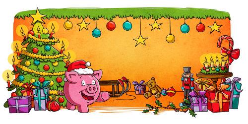 enfants illustration arbre de noël et cadeaux