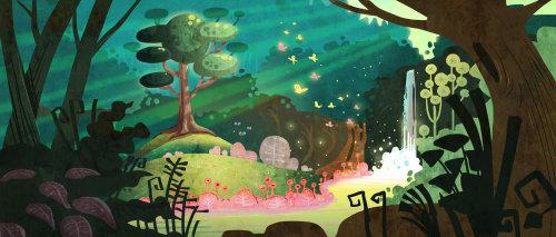 illustration des enfants de la nature de la cascade