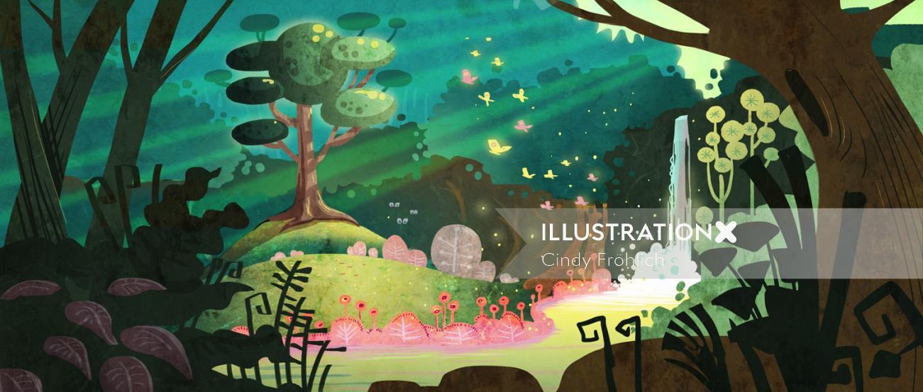 children illustration of waterfall nature