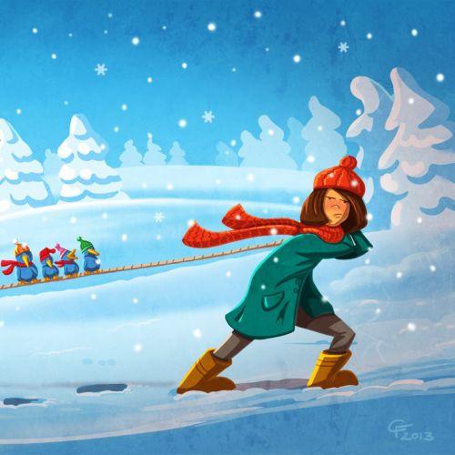Children girl dragging dogs on skii