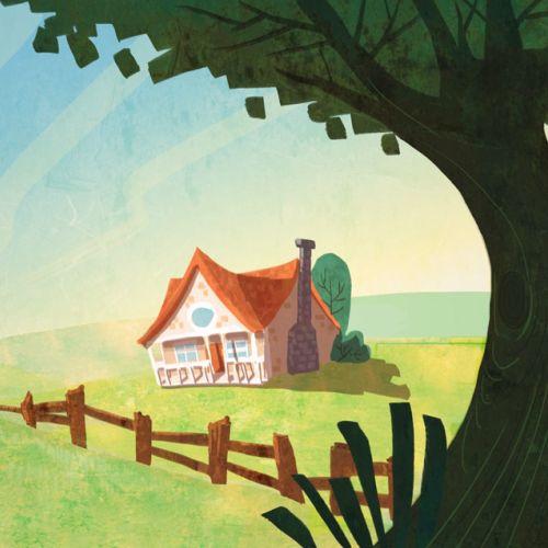 Children ilustration house in forest