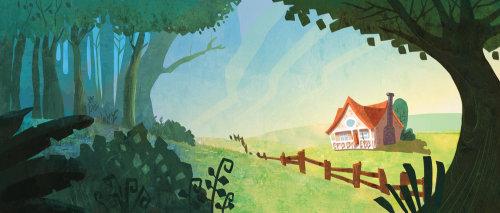Enfants ilustration maison en forêt