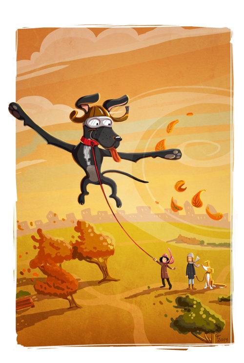 Children illustration flying dog