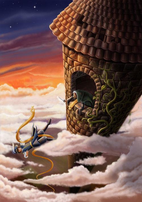 Children illustration boy falling from castle