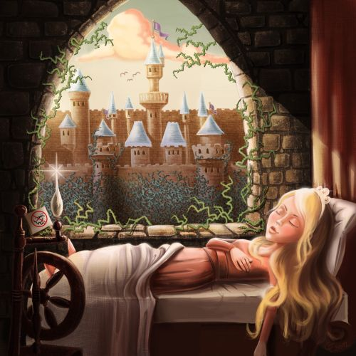 Children illustration sleeping beauty