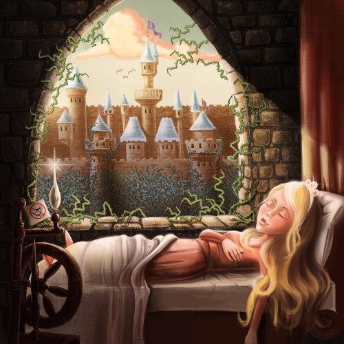 Children illustration sleeping beauty
