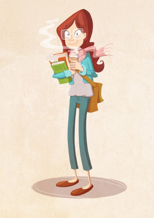 character design of woman with coffee and books