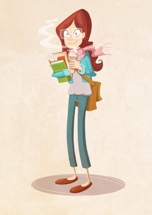 conception de personnage de femme avec café et livres