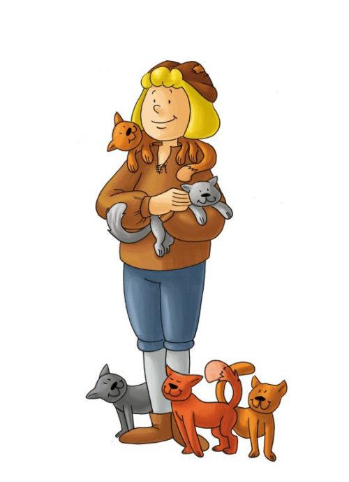 conception de personnage femme avec des chats