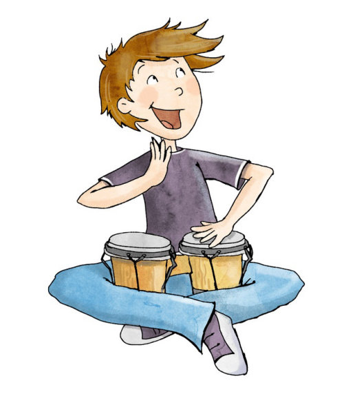 character design boy with drums