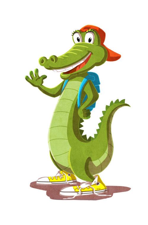 Crocodile Cartoon & Humour avec sac à dos