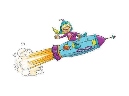 conception de personnage super kid sur fusée