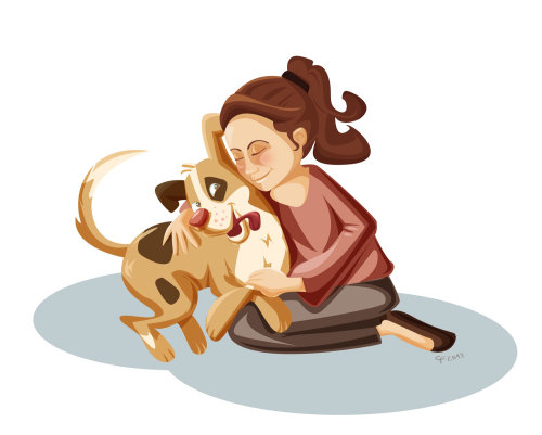 Children illustration of woman and dog