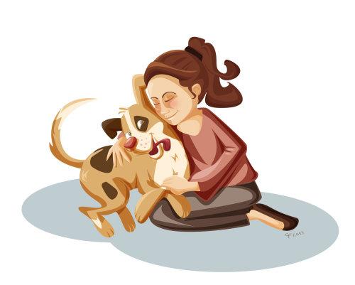 Illustration d'enfants de femme et chien