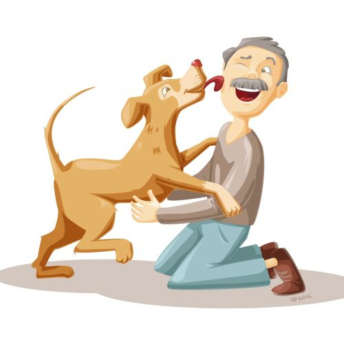 Cartoon&Humour old man and dog