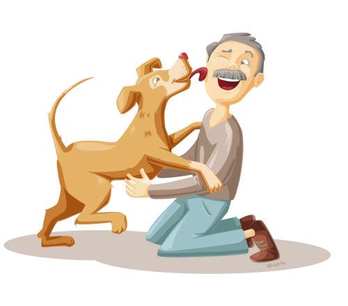 Cartoon&Humour old man and dog
