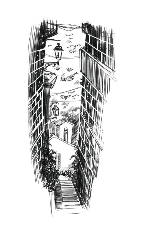 Bâtiments de la ville en noir et blanc