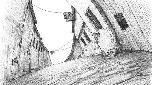 Bâtiments de rue noir et blanc