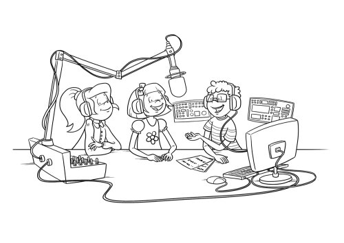 :Line drawing of kids in radio station