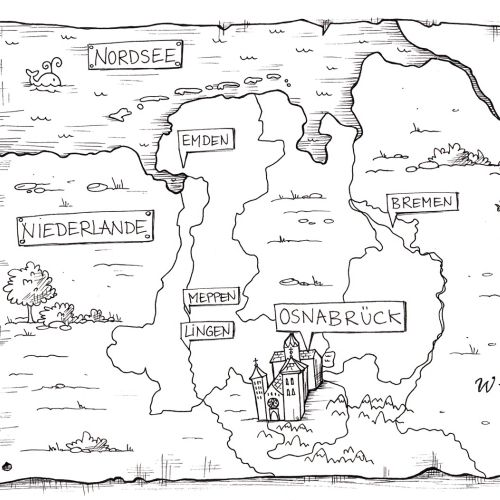 Maps Black and white map castle and nature