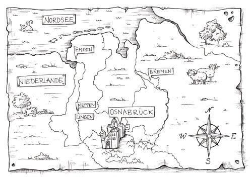 Cartes Carte noir et blanc du château et de la nature