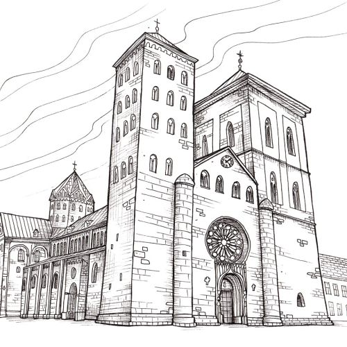 Black& White Church building