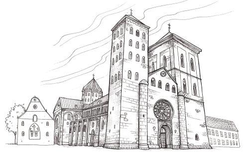Bâtiment de l'église noir et blanc