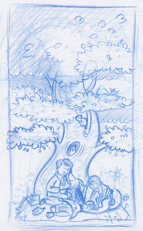 Dessin au trait bleu des enfants assis sous un arbre