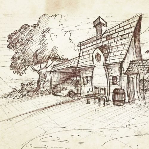 Line art of small house