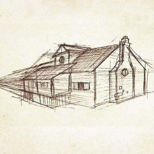 Line art of building architecture