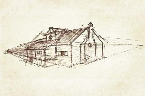 Dessin au trait de l'architecture du bâtiment