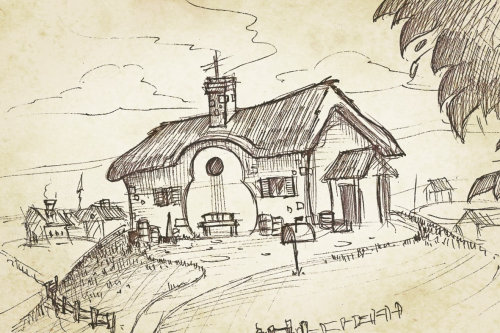 Line art of guitar shaped house