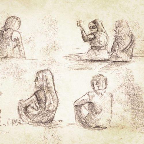 Line art of people sitting