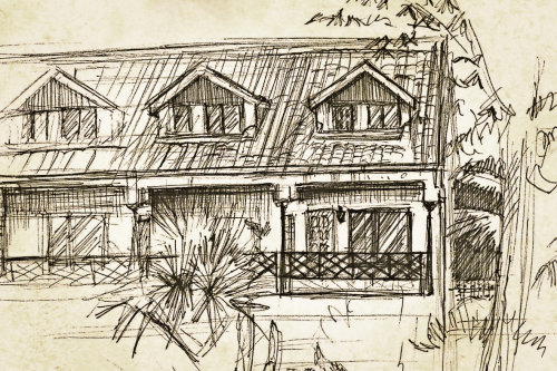 Line art of house