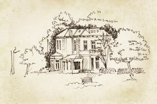 Line illustration of house with trees
