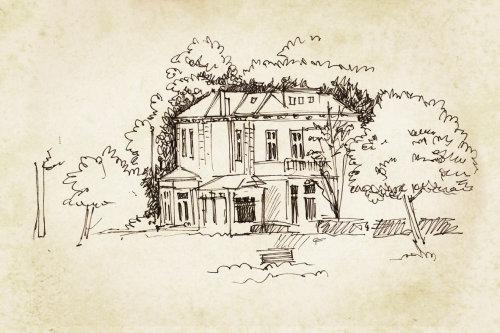 Illustration de ligne de maison avec des arbres