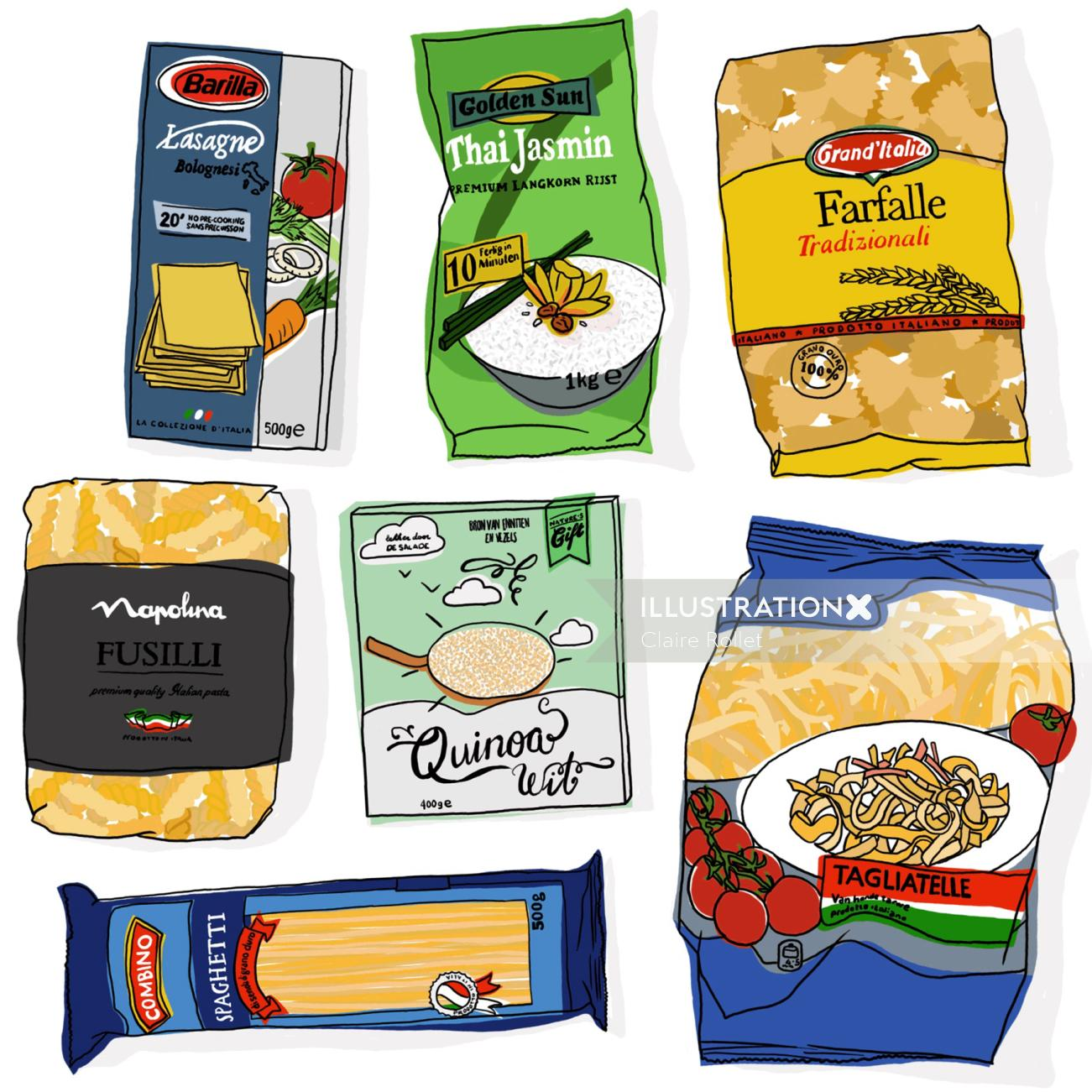 Collection of packaged food illustration
